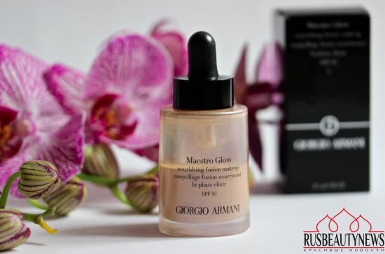 Тональная сыворотка Giorgio Armani Maestro Glow Nourishing Fusion Makeup  Bi-Phase Elixir SPF30