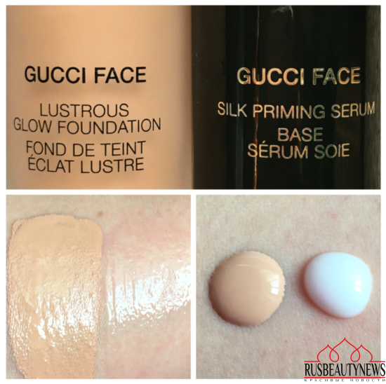 Gucci Silk Priming Serum and Lustrous Glow Foundation swatches