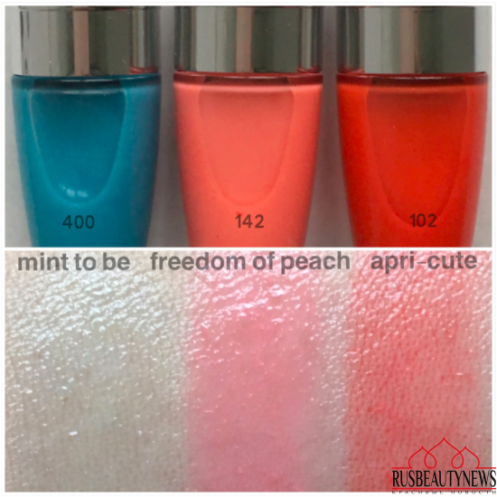 Lancome Juicy Shaker 102 Apri-cute, 142 Freedom of peach, 400 Mint to Bee