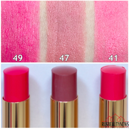 YSL Rouge Volupté Shine Oil-In-Stick Lipstick 41 Corail A Porter, 47 Beige Blouse, 49 Rose Saint Germain swatches