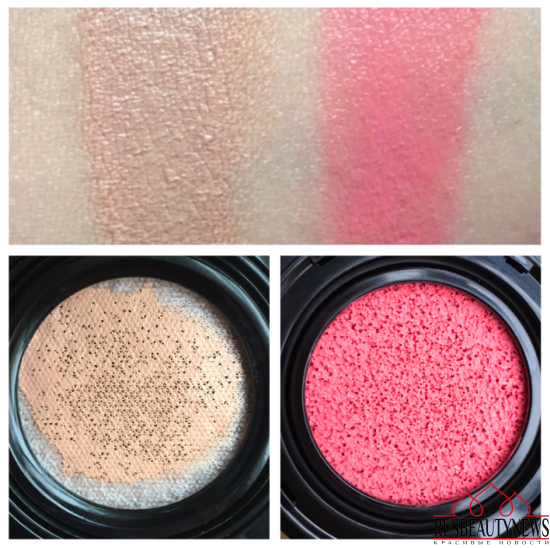 Lancome Teint Idole Ultra Cushion и румяна Cushion Blush Subtil swatches